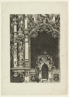 "Print, Elevation of Part of an Altar Retable, from ""Architectura und Ausztheilung der V Seulen"""