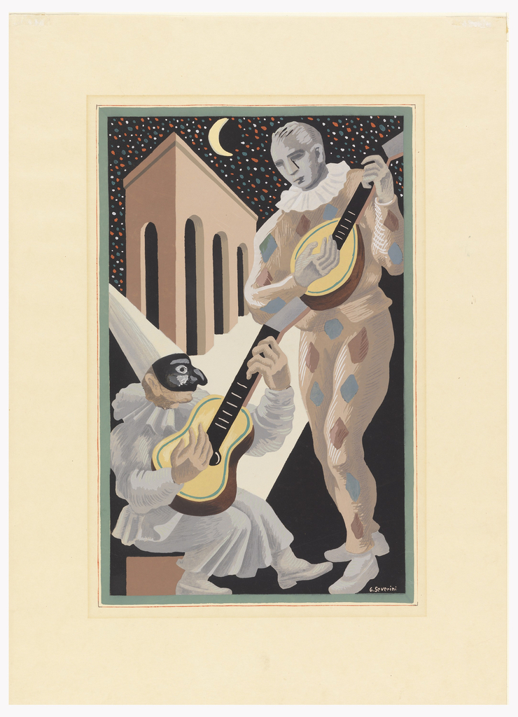 Pulcinella seated at left wearing black half mask, peaked hat, gray pantaloons, playing a guitar; Harlequin standing at right playing a lute. Black background with a half moon and colored stars as arcade.