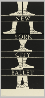 On black background, five scenes of a pair of feet in ballet points.  Each pair is in one of the five basic positions of ballet.  Separating each of these pairs of feet is a single work in text which reads: NEW/ YORK/ CITY/ BALLET.