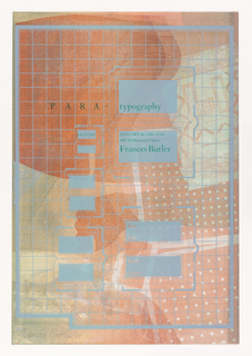 Poster shows a topographical-like design marked by blue grid, with boxes and squares on soft red, green and white. Text in these blue boxes is in green: LECTURE; JANUARY 16, 1980 12:00 / MU II Memorial Union / Frances Butler.