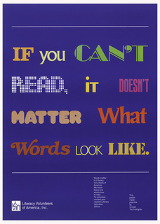 Solid blue background with colorful letters: IF you CAN'T / READ, iT DOESN'T / MATTER What / Words LOOK LIKE.