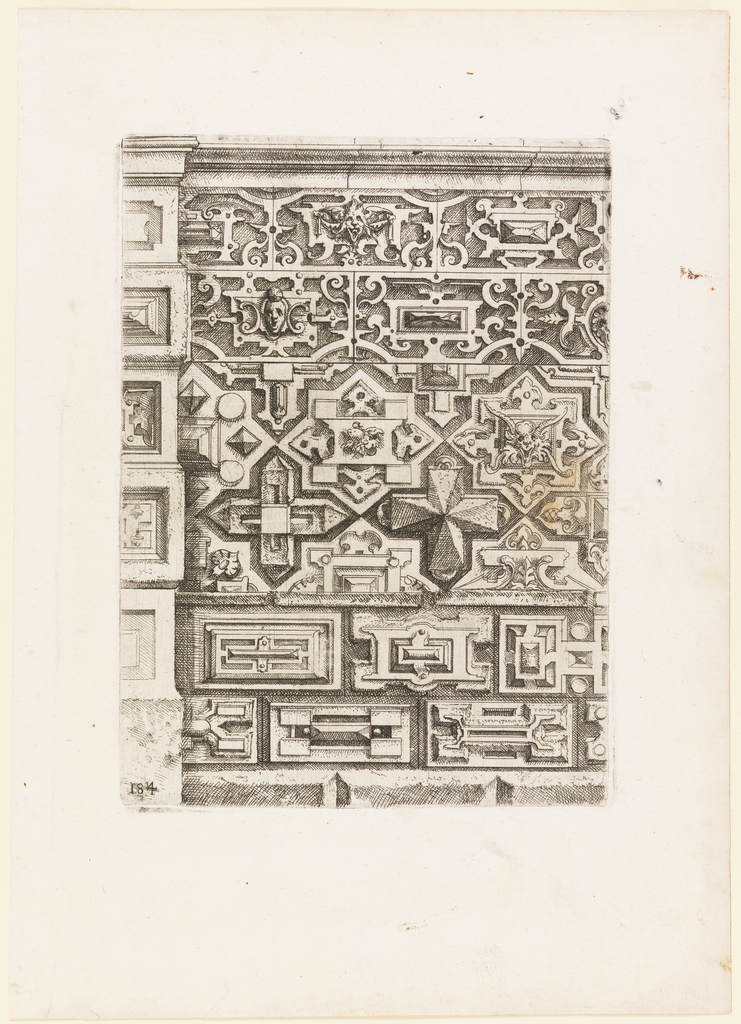 Design for a brick/tiled wall with various ornamental motifs.