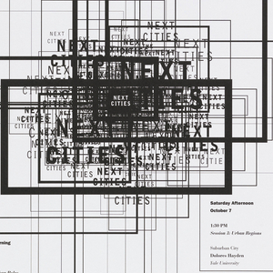 Black and white poster incorporating overlapping squares suggesting the city block. The overlapping creates a density suggestive of the overcrowding that plagues urban areas.