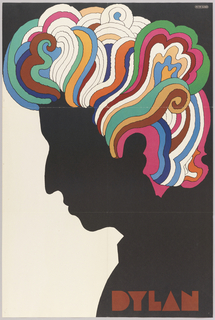 Profile silhouette of Bob Dylan, facing left, with hair rendered in brightly colored psychedelic shapes. Red text, lower right: DYLAN.
