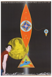 Predominantly black poster. Central, red, blue, green geometric shapes above a green triangle enclosing red and blue hands. Photograph of the artist on lower left-hand side, and yellow representation of diety Jibo Kannon.