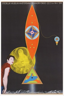 "Predominantly black poster with text: ""Stedelijk Museum Amsterdam: Tadanori Yokoo 22 2 tm  14 4 1974"" across top. Central, red, blue, green geometric shapes above a green triangle enclosing red and blue hands. Photograph of the artist on lower left-hand side, and yellow representation of diety Jibbo Kannon."