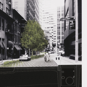 View of Hanover Square featuring proposed porous concrete street tiles and underground vaults.