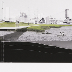 View of the eastern shore of lower Manhattan, illustrating a series of raised walkways connecting the man-made estuaries and people kayaking.