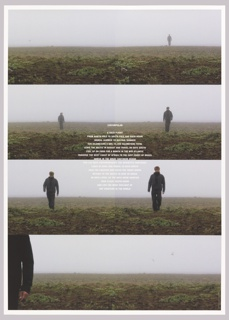 Poster in two parts, divided vertically.  Eight film stills of a man walking in a natural landscape with the text in white in center about the yearly flight of an Arctic tern.
