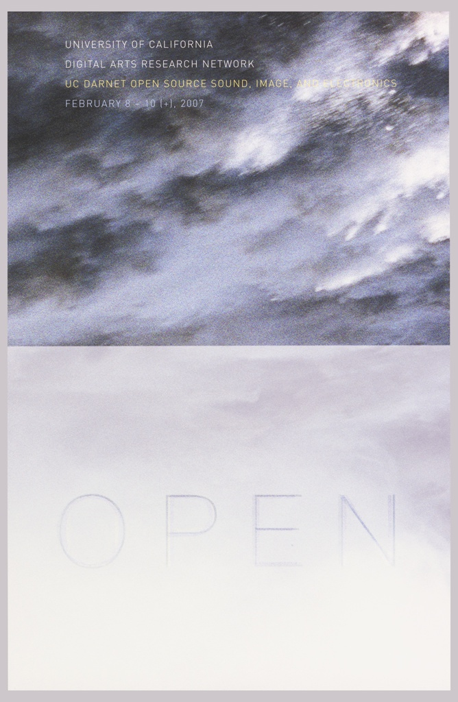 Poster divided horizontally features a image of a waterfall atop an image of the sky. Printed text at upper left and at lower center.