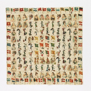 Patchwork cover of  cigarette souvenirs. Squares printed with national flags, famous queens and fashionable women. Backed with roller printed cotton with half-drop design of roses. Same backing as 1980-31-3.