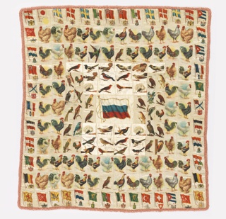 "Patchwork cover made of cigarette souvenir squares printed with national flags and birds. The large central flag is from pre-revolutionary Russia, surrounded by birds and other national flags. Several flag souvenirs read ""Zira Cigarettes."" Backing is a roller-printed cotton with a design of roses. Edged in silk hairpin lace."
