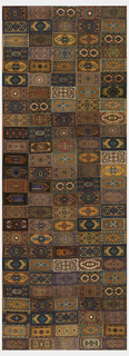 "Patchwork panel made of 130 rectangles printed to look like Persian carpets. At least twenty-nine different pattern are present and several have different colorways. On each rectangle, printed on the back is: ""Factory No. 649, 1st District N.Y.,"" or ""Factory No. 33, 2nd District N.Y."""