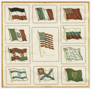 "Panel for collectors of cigarette souvenir squares which were to be stitched to the spaces indicated. Eleven flags with a large United States flag in the center and a gold frame around the edge. ""No. 1."" All edges cut."