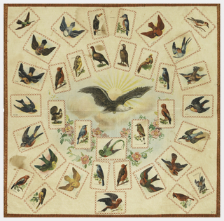 Panel for collectors of cigarette souvenir squares which were to be stitched to the spaces indicated. Printed circular design of a soaring eagle with a radiant sun emerging from the clouds. Floral garland is under the clouds. Cigarette souvenirs with different species of birds are attached using buttonhole stitches.