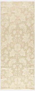 Vertically symmetrical pattern of finely drawn flowers and foliage. Color: off-white.