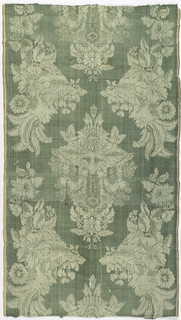 Blue-green silk with a symmetrical arrangement of pattern with heavy fruits and flowers in white plain weave.
