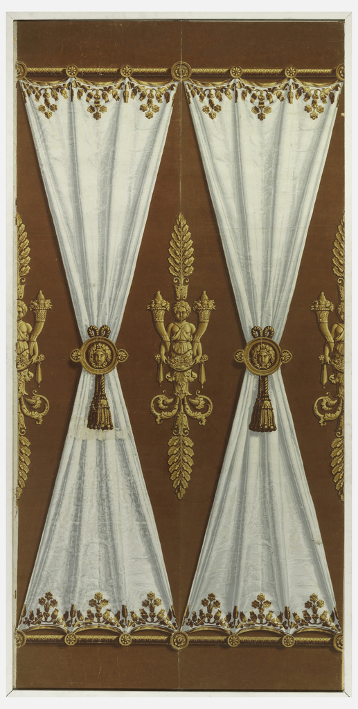 """Ridde satin blanc."" On rust-colored flock ground, simulated draped white fabric or drapery on each of two wallpaper panels. Fabric panels suspended between golden horizontal rods, cinched in centers with golden medallions, with masks, from which hang tassels. Neoclassic figures rising from oak foliage, bearing cornucopias and flowers, spaced between ""fabric"" panels. Golden leaf decorations bordering white ""fabric."""