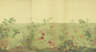 Scenic wallpaper designed for a bathroom. This mural is composed of three different panels making up one underwater scene. Section I, the first of three panels, contains two large fish with striped heads swimming. Two clams rest on the hilly bottom. Plant life is growing up both sides of the scene. The three panels work in sequence, with the right edge of Section III joining up the left edge of Section I. This one scene would then repeat around your bathroom. Printed in colors on an off-white ground.