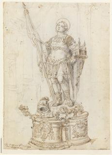 Drawing, Sculptural Figure on a Pedestal