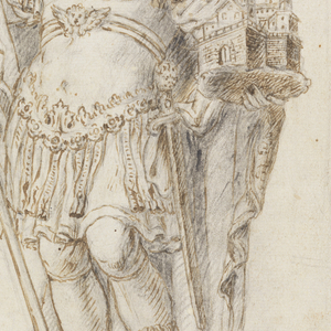 Sculptural male haloed figure (saint) on pedestal; dressed in Roman armor, holding a building (St. Peter's?) and a banner, at bottom, a helmet and decorative elements.