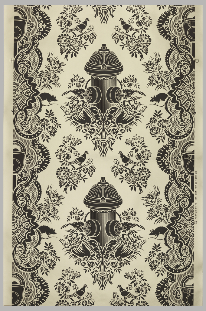 A typical damask-style design containing very modern imagery including such motifs as a fire hydrant, parking meter, pidgeons and rats. Printed in brown on a gold foil ground.