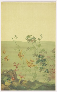 Scenic wallpaper designed for a bathroom. This is the third of three different  panels making up this underwater scene. Section III contains a group of angel fish and more plant life. The three panels work in sequence, with panel 3 repeating with panel 1. Printed in colors on an off-white ground.