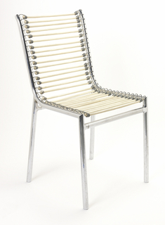 Side chair consisting of tubular chromed metal frame, the back and seat with 30 horizontal ivory-colored elasticized bands attached to frame with metal wire hooks.  Second generation (from original source).
