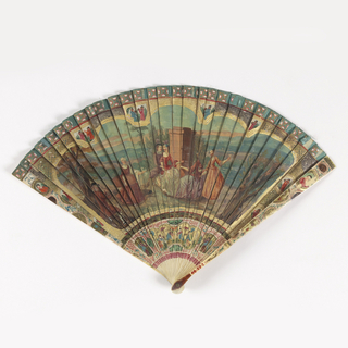 Fan with observe painted with a design of dancers and musicians against a landscape background. Reverse has a landscape scene with trees against a hilly backdrop. In margins are birds and figures in a chinoiserie style.