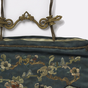 Bag embroidered with landscape including a fawn and flowering trees; metal thread fringe on three sides; metal cord at top with brass ornament; white silk lining.