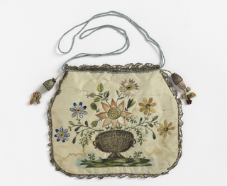 Flat bag of white silk taffeta, embroidered on both sides with colored silks and metal threads; front, basket of flowers; back, flower spray with bird. Trimmed with narrow gold lace. Blue silk cord at top; covered tassels at corners.