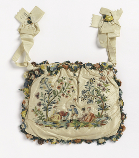 "Woman's bag of white taffeta, embroidered in colored silks, metal thread and sequins. On one side, children playing game of ""la main chaude;"" on the other, woman offering grapes to a child. Faces painted. Edged with elaborate trimming of silk flowers."