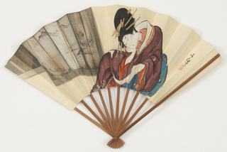 "Pleated fan. Stiffened silk leaf painted in the in 'Ukiyo-e"" style with the female figure of an artist sitting before a folding screen. Bamboo sticks."