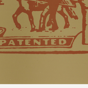 Red text and image on tan ground: Levi Strauss & Co. patch logo.