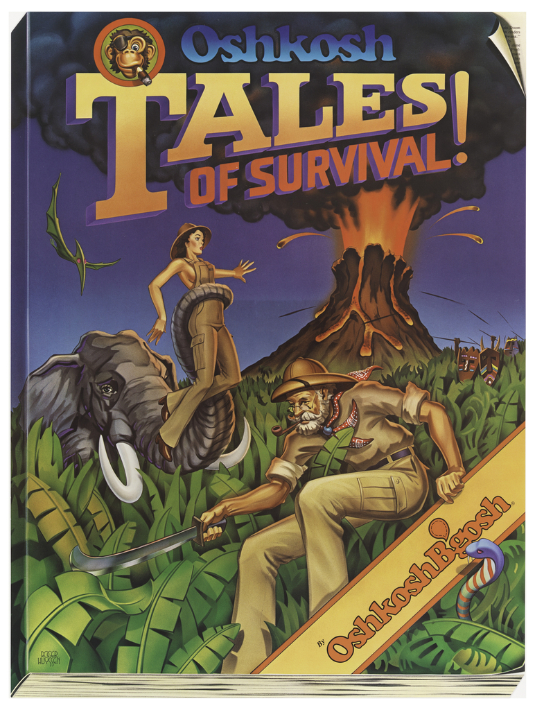 """Poster designed to look like a book; cover featuring a jungle, an elephant holding a woman in its trunk, an """"explorer"""", and an erupting volcano in the background. Title in colorful text above: Oshkosh / TALES / OF SURVIVAL. Lower right, band containing text in orange and yellow: OshkoshB'gosh."""