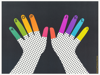 On a black ground, silhouette of two hands in white with black dots; fingers in different colors with keyboard keys at the fingertips.