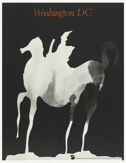 On a black ground, a white silhouette of a horse and rider with shadows on the horse's rear. Above, in red: Washington DC.