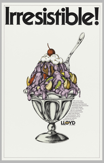 Drawing of a large sundae with text in black above: Irresistible! Lloyd logo lower right.