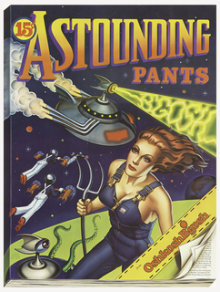 Poster as a comic book featuring space fantasy image with UFO, a woman, and two men flying through space. Above: ASTOUNDING / PANTS; lower right: OshkoshB'gosh