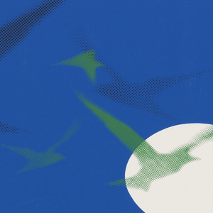 Poster in blue and green with white circle; shadows of flying birds in the blue area. Text in green area below: The / shell / must / break / before / the / bird / can / fly. / Tennyson. Lower left IBM logo; lower center: Management Development 1973.