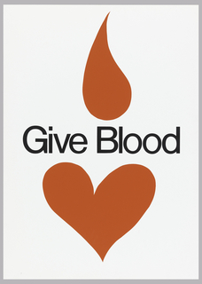 On white ground, a red heart below and a red droplet above text in black: Give Blood.