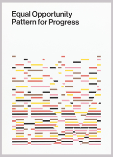 On white ground, text in black: Equal Opportunity / Pattern for Progress. Lower section composed of horizontal bars in red, brown, black, yellow and pink and below makes up the word: IBM.