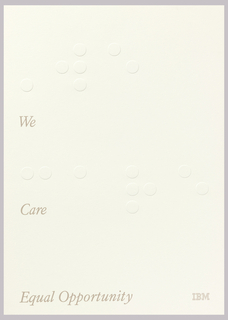 On white ground, text in like gray: We / Care / Equal Opportunity; lower right: IBM [logo]. Dots stamped in relief.