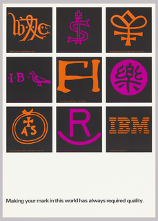 On white ground, grid in black with 9 squares in black with symbols and initials in orange and purple. Lower right has IBM logo. Each black square contains explanation of what the symbol is below; for example: A 15th Century European Merchant / Rocking R Ranch, Texas—1870. Lower margin in black ink: Making your mark in this world has always required quality.