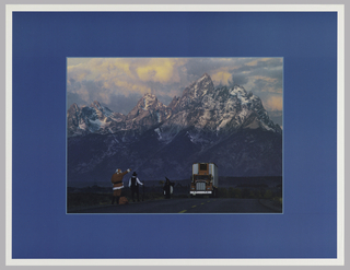 Photograph of a snowy mountainous view and highway with semi-truck; hailing down the truck are three figures: Santa Claus, a pilgrim, and a witch. This is all framed by a blue border.