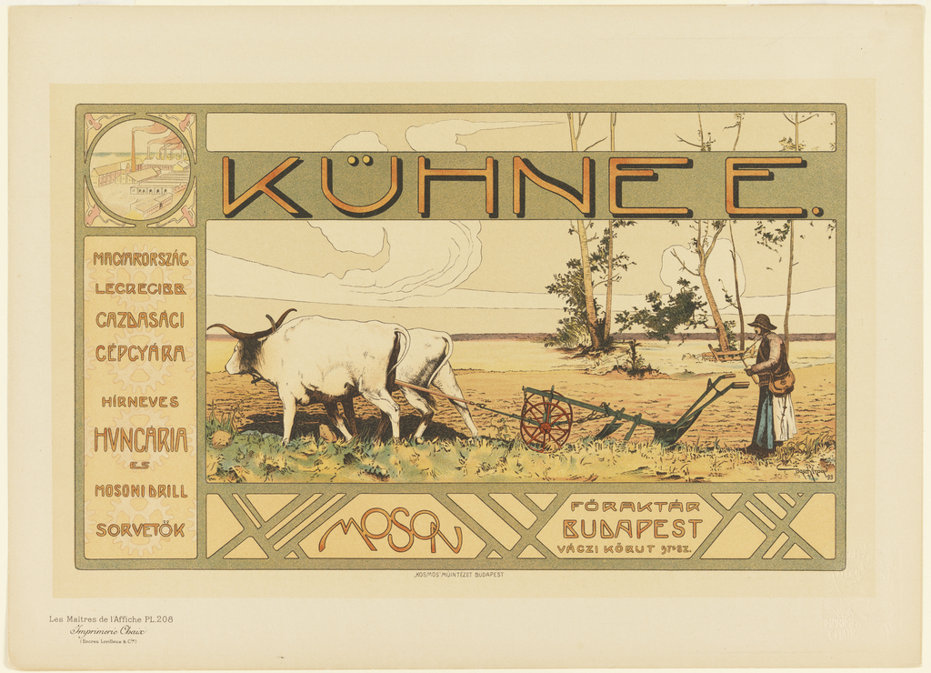 Image depicts a landscape of a man ploughing a field with two bulls. Text above and below in Hungarian.