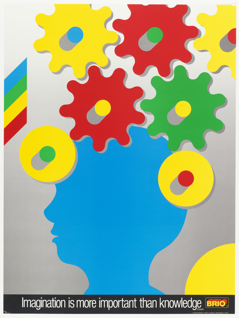 Silhouette of a boy's profile in blue with cogs in bright colors overhead. Lower margin in white on black border: Imagination is more important than knowledge / Einstein. BRIO logo.