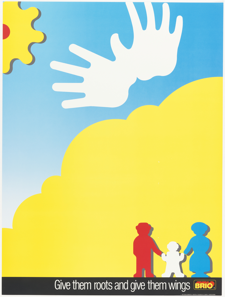 Silhouette of three figures; presumably a father, mother and child against a yellow cloud; silhouette of white hands in sky and a cog as a sun in the upper left corner. In white, on black: Give them roots and give them wings. BRIO logo.