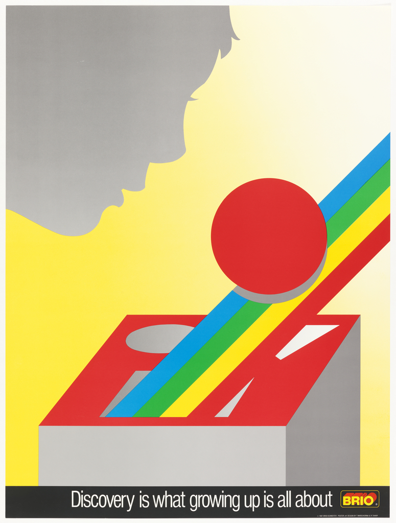 Silhouette of a boy's profile in light gray looking at a box with a red circle and a rainbow. In white on black border, lower margin: Discovery is what growing up is all about. BRIO logo.