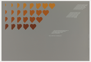 On a gray ground, rows of colored hearts and partial hearts on upper left. Right side diagonal blocks of white text (a poem): At the heart of a peach is a stone…At the heart of a heart is a HEART / Stanley Mason. [address below]